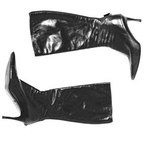 GUCCI Black Leather Zip up Boots Heels size 10